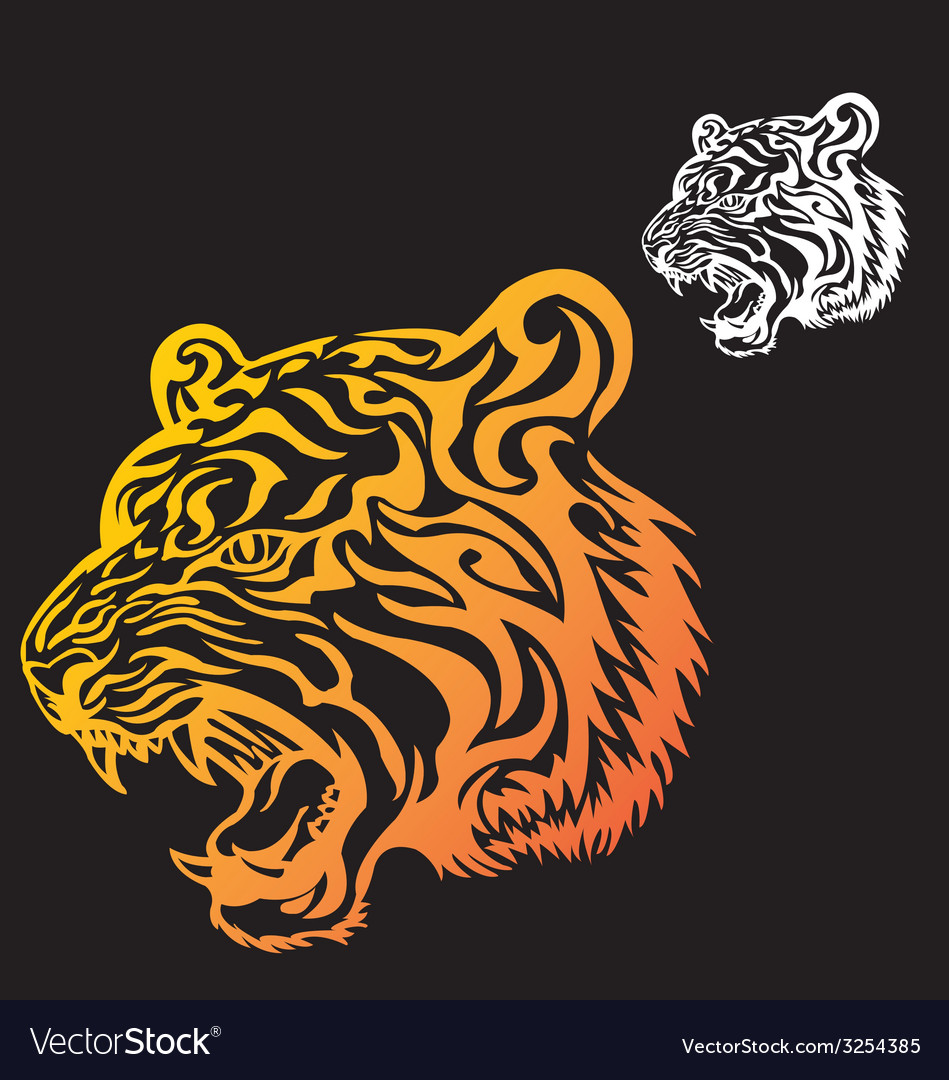 Head tiger tattoo vector | Price: 1 Credit (USD $1)