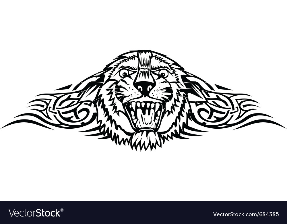 Head tiger with patterns vector | Price: 1 Credit (USD $1)