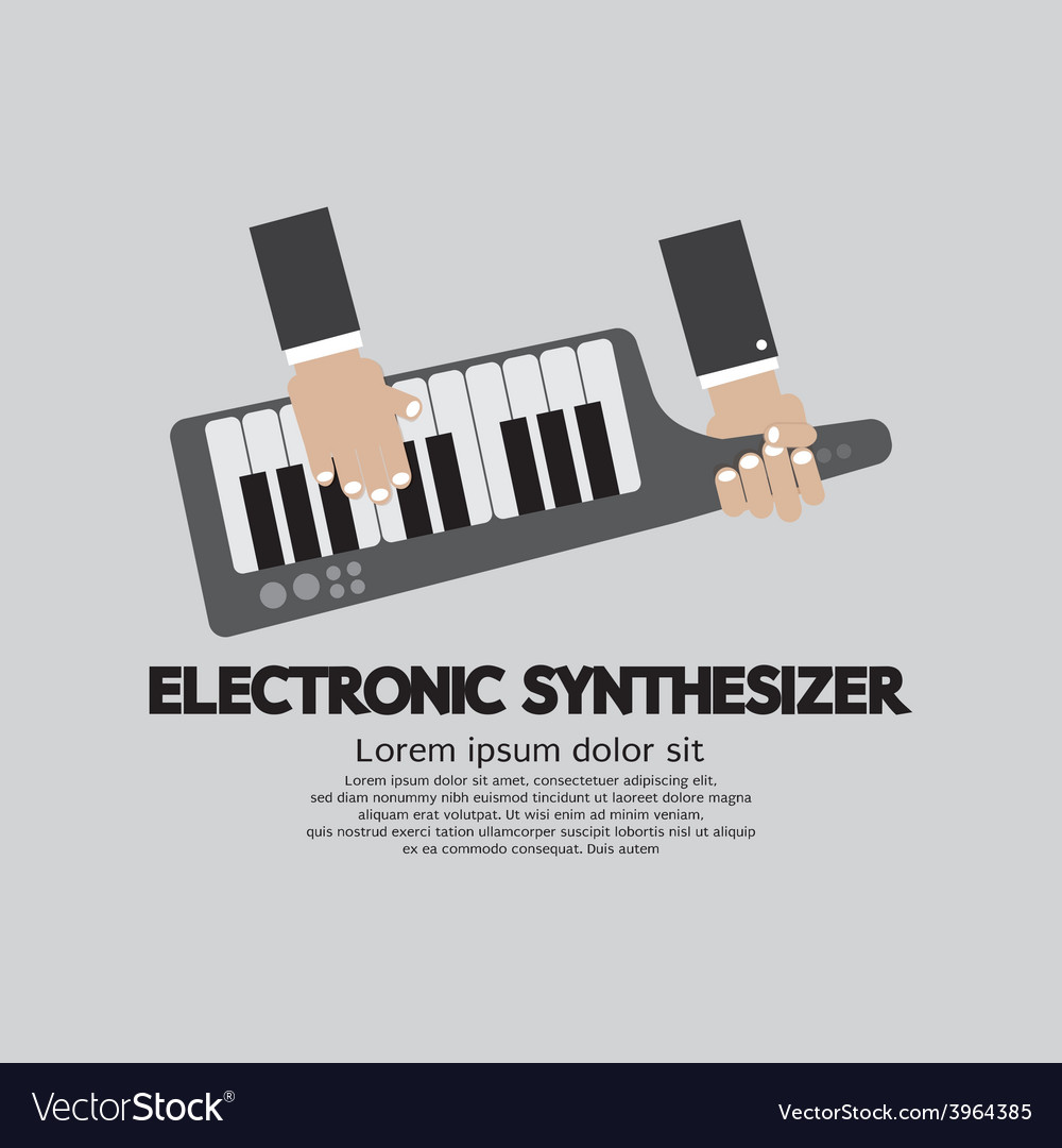 Musician playing electronic synthesizer flat vector | Price: 1 Credit (USD $1)