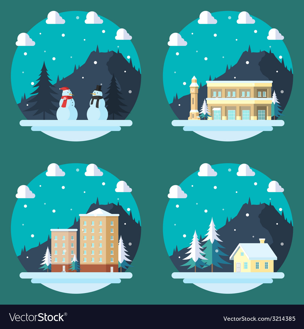 Pack of flat design winter scenes vector | Price: 1 Credit (USD $1)
