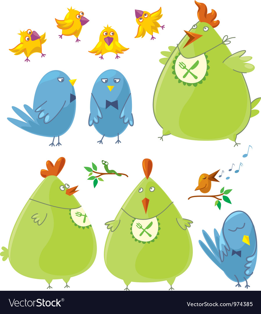 Personages cute birds vector | Price: 3 Credit (USD $3)