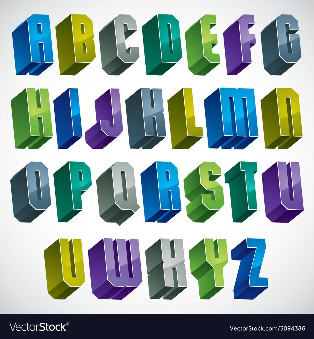 3d colorful letters geometric alphabet vector | Price: 1 Credit (USD $1)