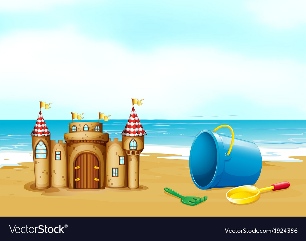 A castle at the beach vector | Price: 3 Credit (USD $3)