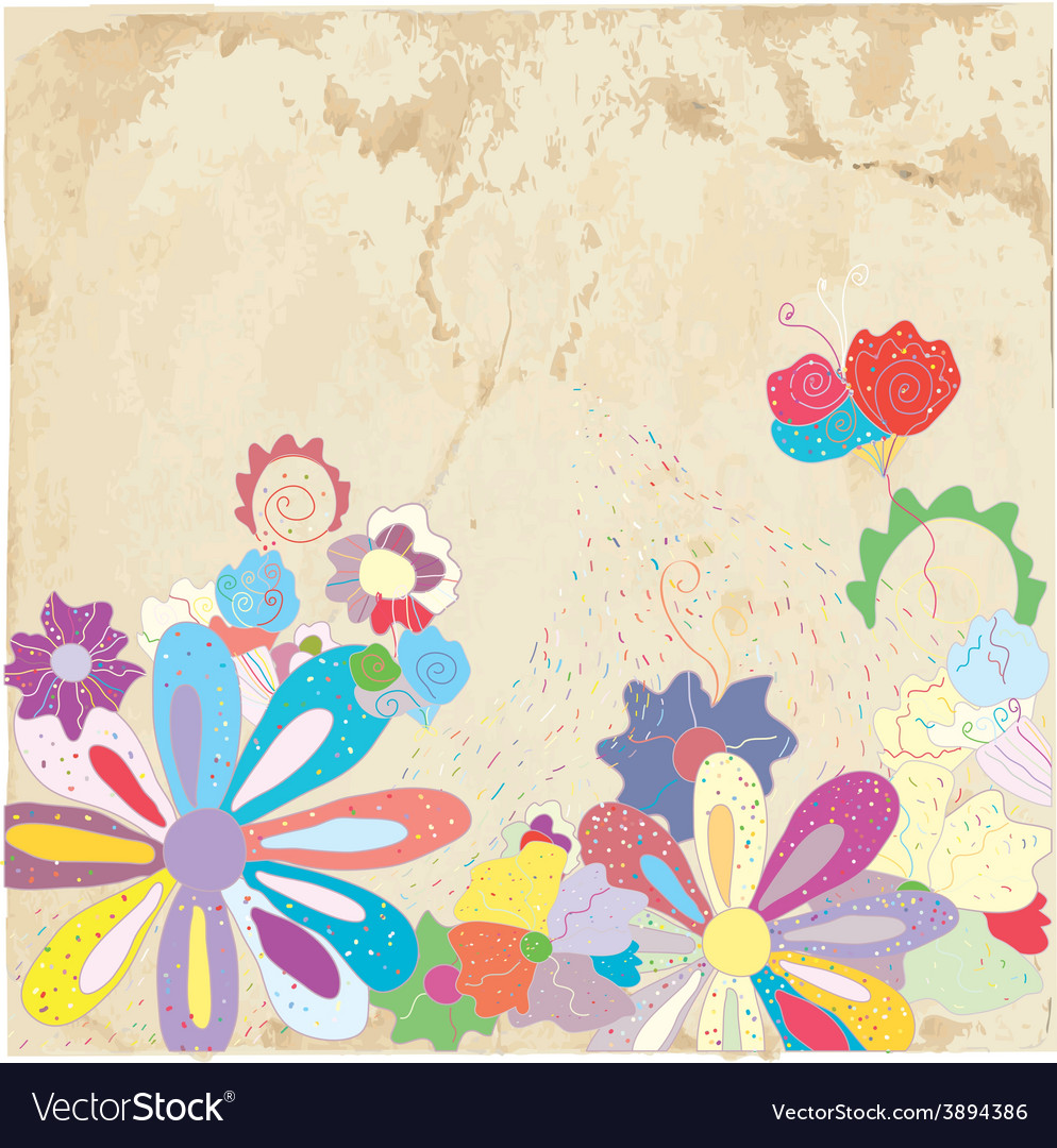 Abstract floral background on paper texture vector | Price: 1 Credit (USD $1)