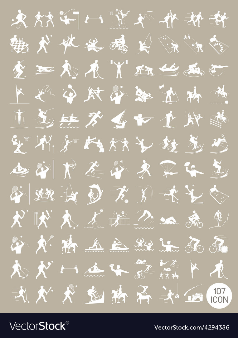 Beautiful white and brown vintage sport icons vector | Price: 1 Credit (USD $1)