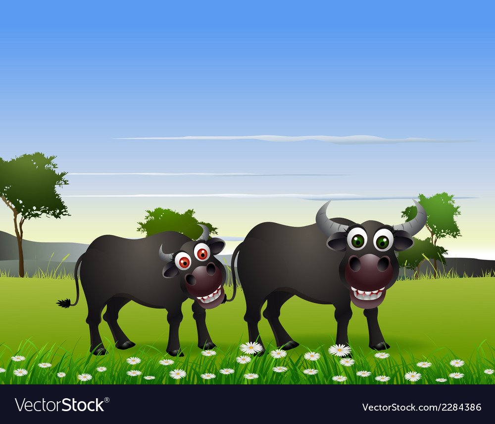 Buffalo cartoon with nature background vector | Price: 3 Credit (USD $3)