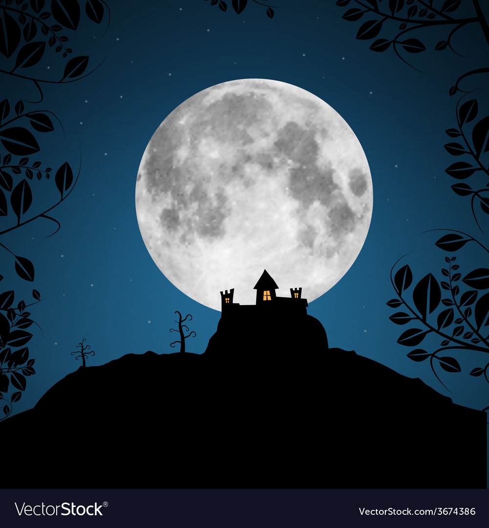 Full moon with castle and trees vector | Price: 1 Credit (USD $1)