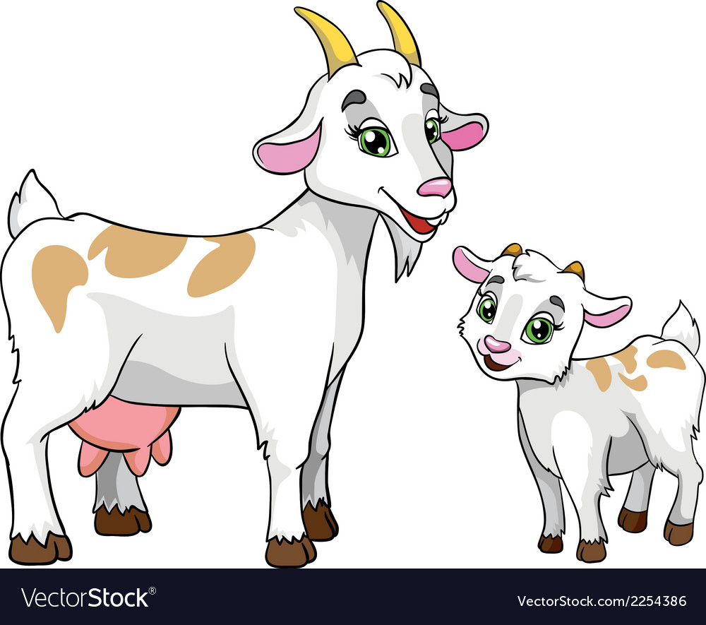 Goat and kid on white background vector | Price: 1 Credit (USD $1)