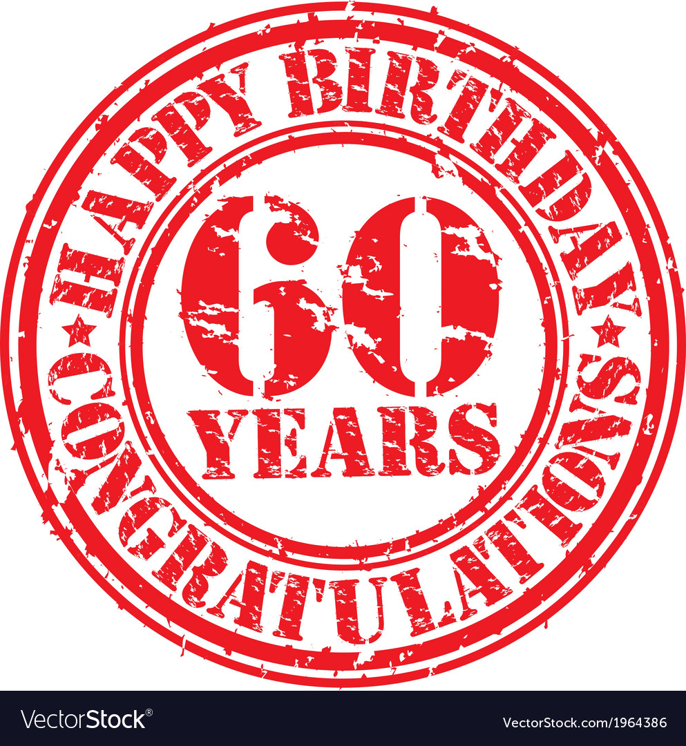 Happy birthday 60 years grunge rubber stamp vector | Price: 1 Credit (USD $1)
