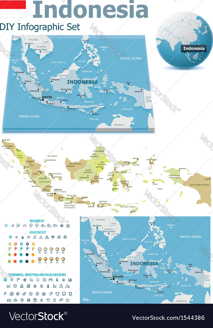 Indonesia maps with markers vector   Price: 3 Credit (USD $3)