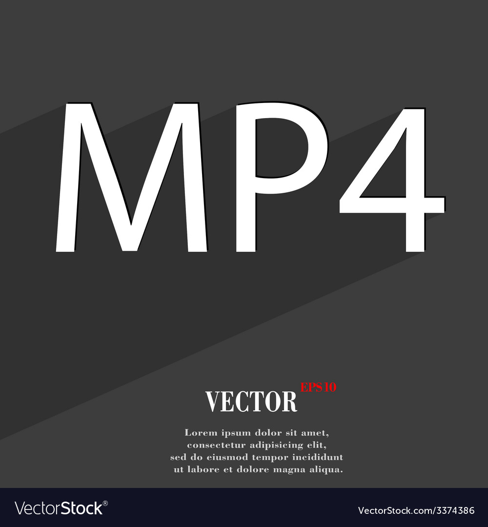 Mpeg4 video format icon symbol flat modern web vector | Price: 1 Credit (USD $1)