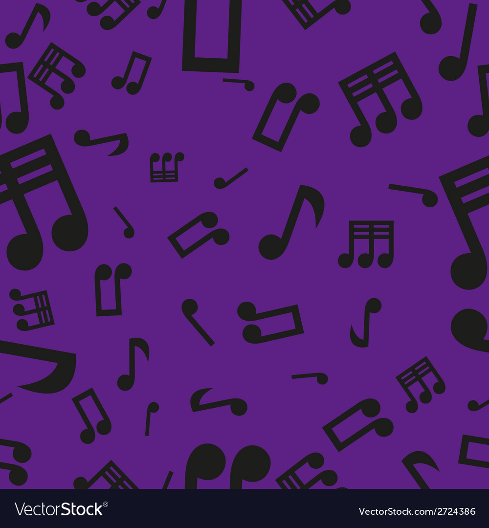 Musical notes seamless pattern violet vector | Price: 1 Credit (USD $1)