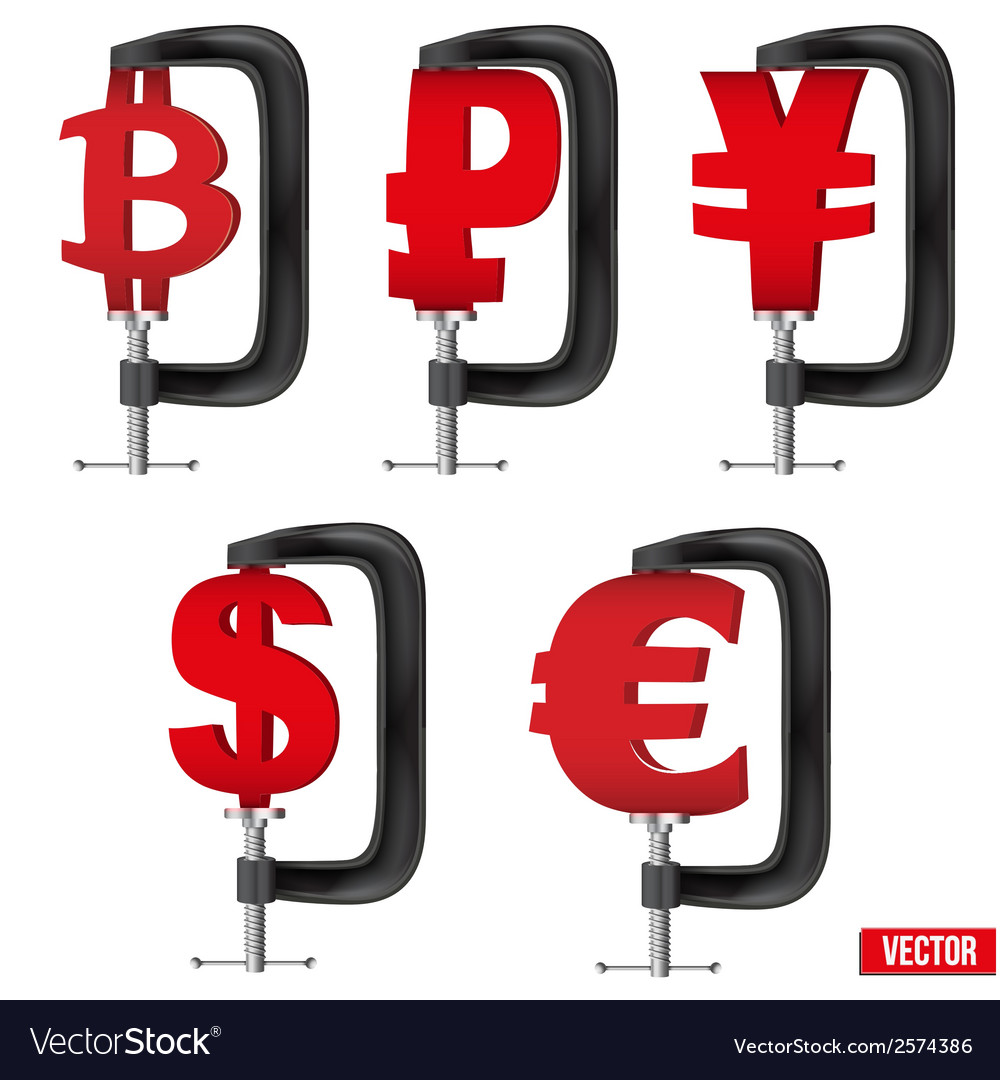 Set of currency symbols being squeezed in a vice vector | Price: 1 Credit (USD $1)