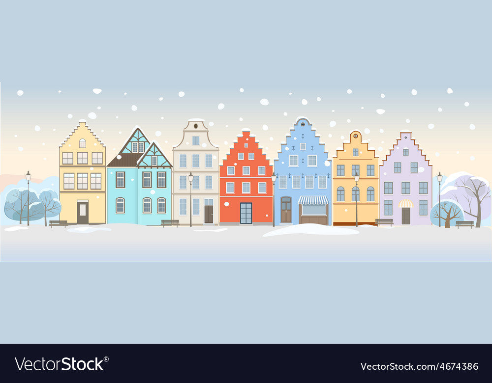 Winter cityscape with retro houses vector | Price: 1 Credit (USD $1)