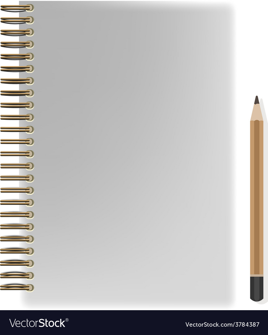 Blank realistic spiral notepad notebook and pencil vector | Price: 1 Credit (USD $1)