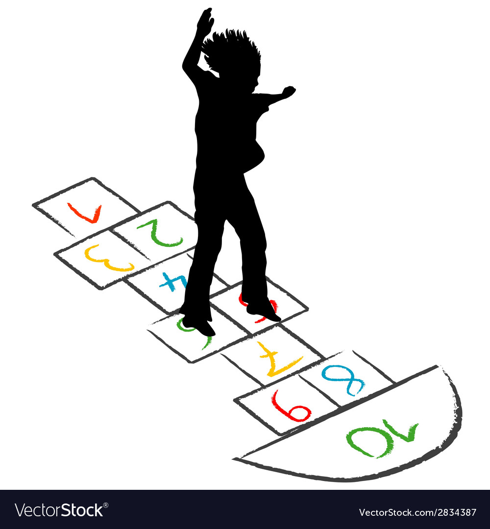 Child silhouette jumping over hopscotch vector | Price: 1 Credit (USD $1)