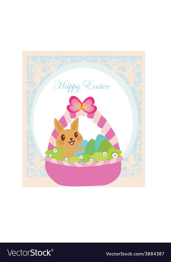 Easter bunny with basket full of easter eggs vector | Price: 1 Credit (USD $1)