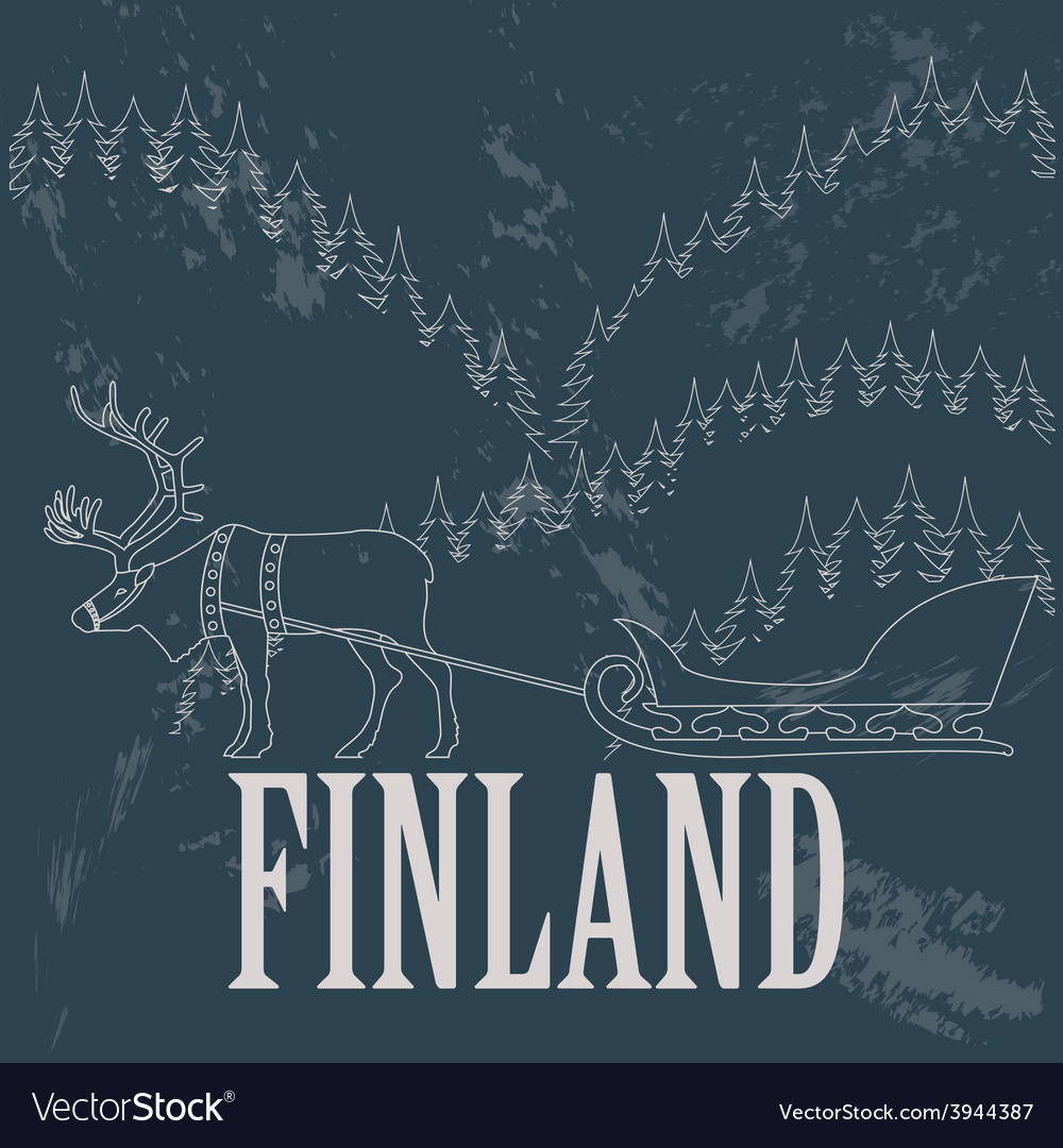 Finland landmarks retro styled image vector | Price: 1 Credit (USD $1)