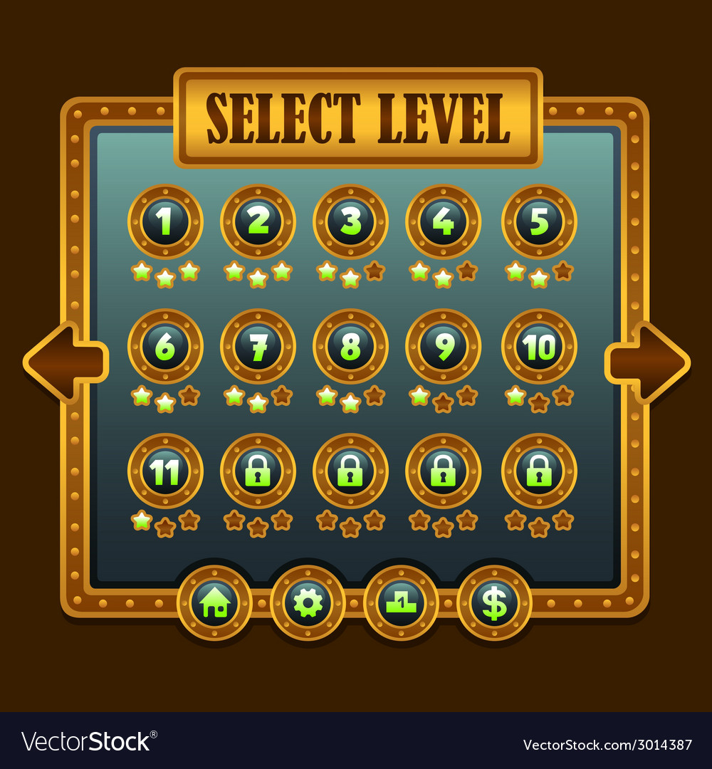 Game steampunk level selection icons vector | Price: 1 Credit (USD $1)