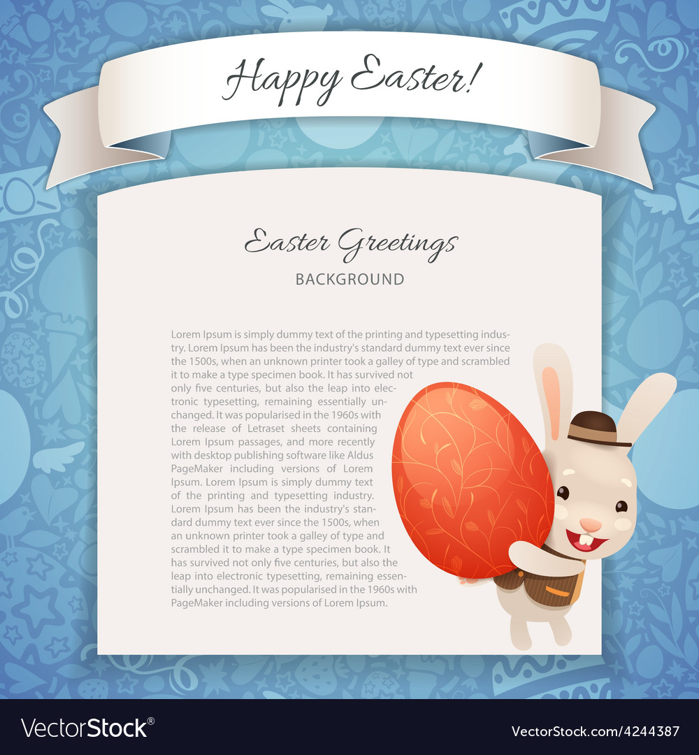 Happy easter poster with banny vector | Price: 1 Credit (USD $1)