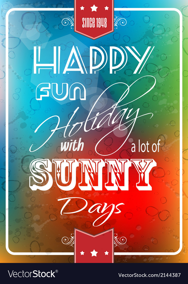 Happy summer poster with a colorful background vector | Price: 1 Credit (USD $1)