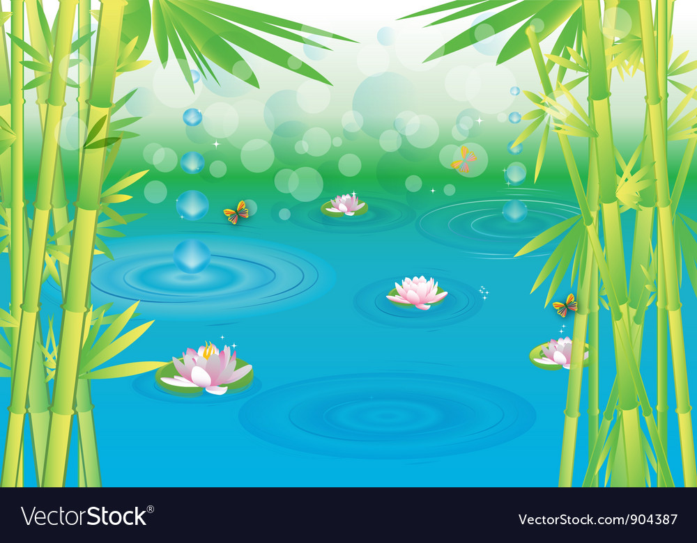 Magical wetlands with bamboo vector | Price: 3 Credit (USD $3)