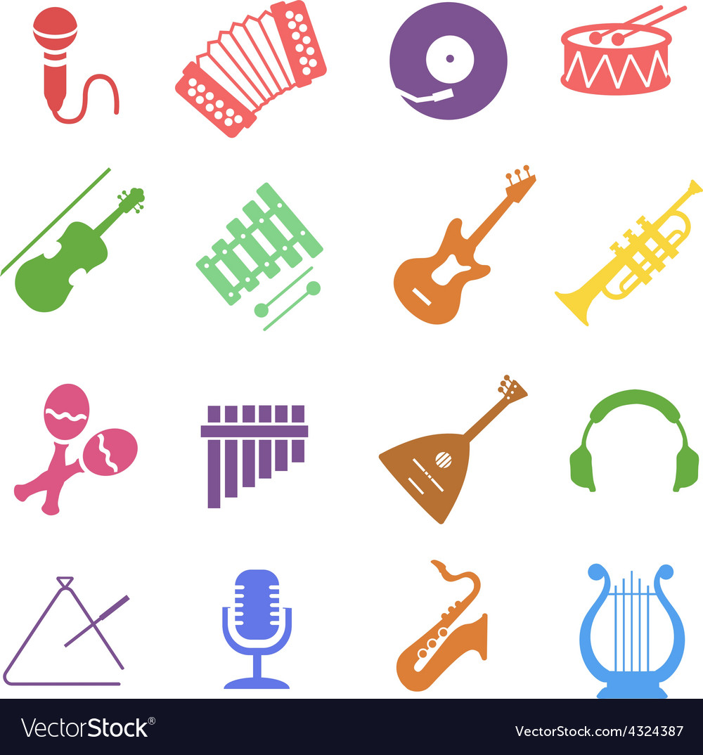 Musical instruments icon set vector | Price: 1 Credit (USD $1)