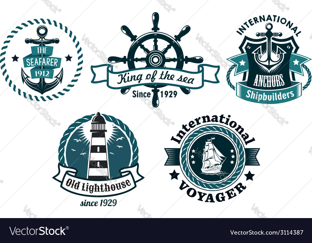 Nautical themed emblems or badges vector | Price: 1 Credit (USD $1)