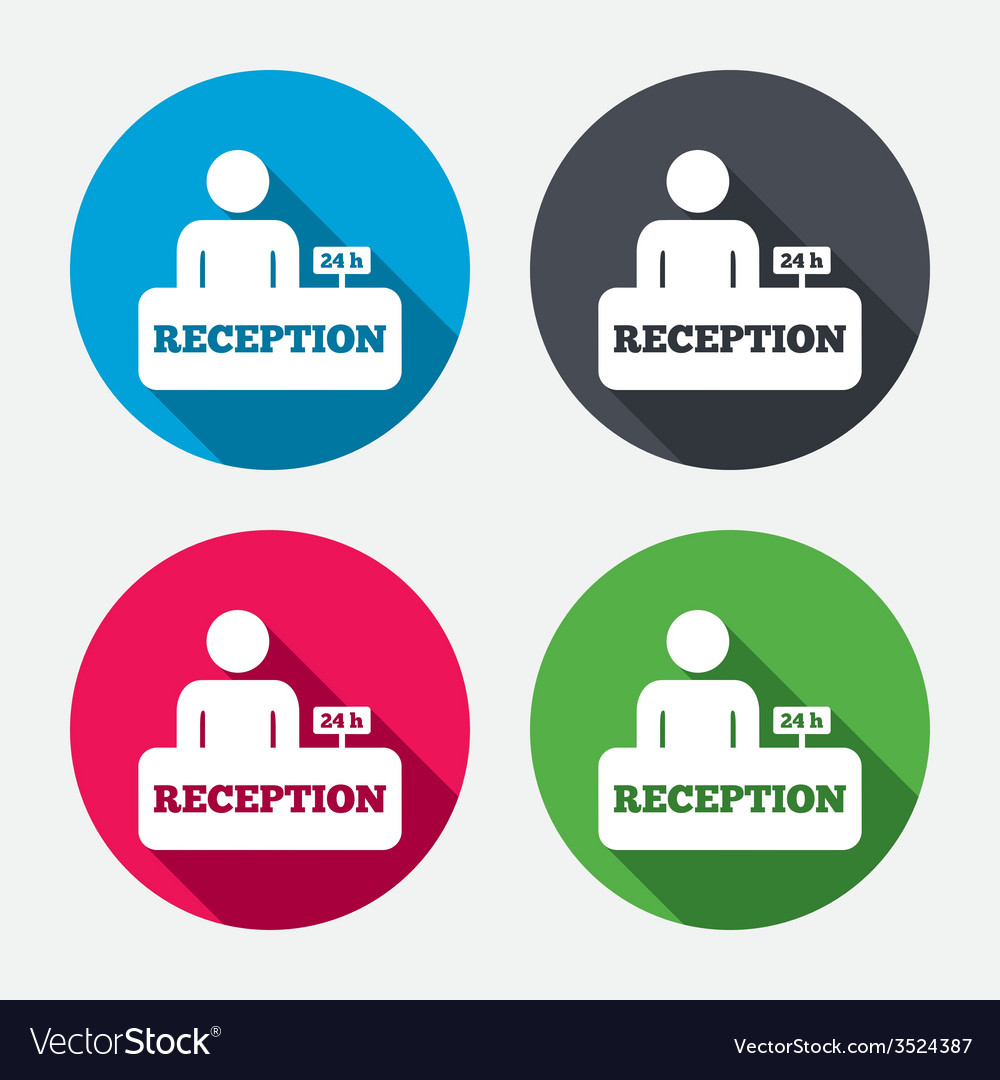 Reception sign icon hotel registration table vector | Price: 1 Credit (USD $1)