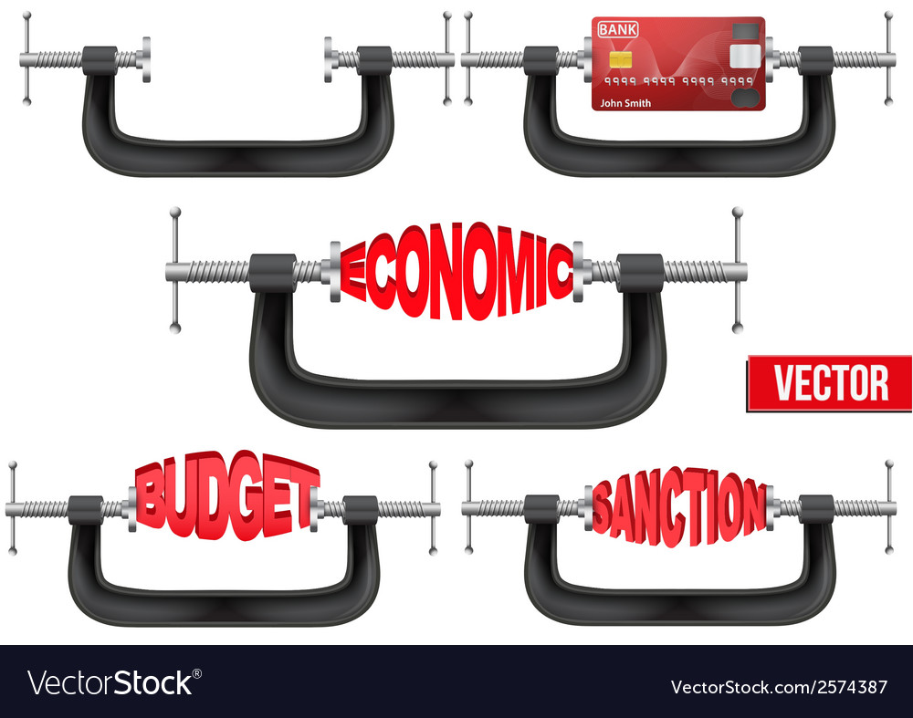 Set of economy and budget being squeezed in a vice vector | Price: 1 Credit (USD $1)