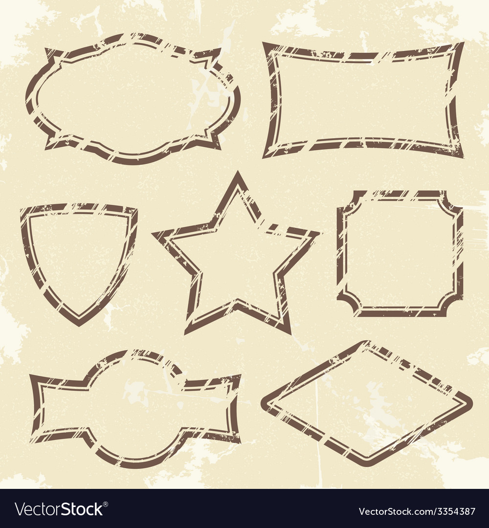 Set of retro style grunge frames vector | Price: 1 Credit (USD $1)