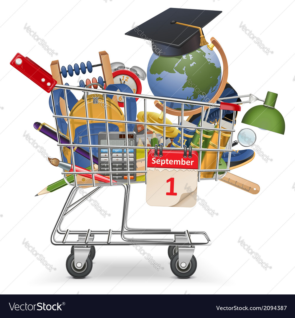 Trolley with school supplies vector | Price: 1 Credit (USD $1)