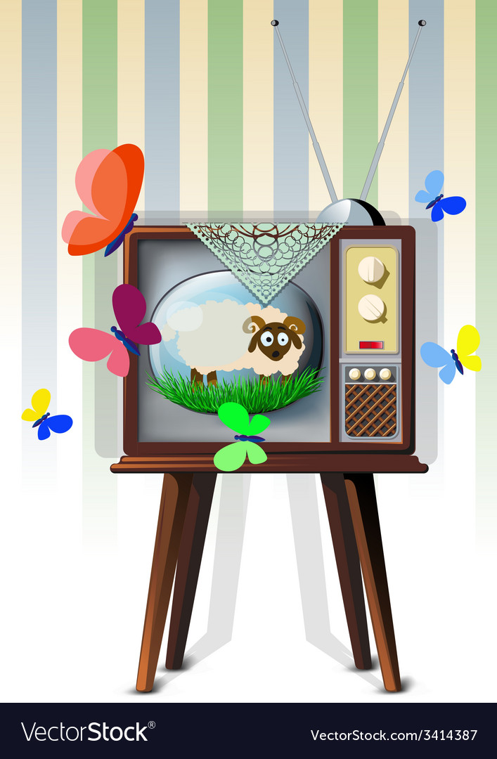 Tv with lamb vector | Price: 3 Credit (USD $3)
