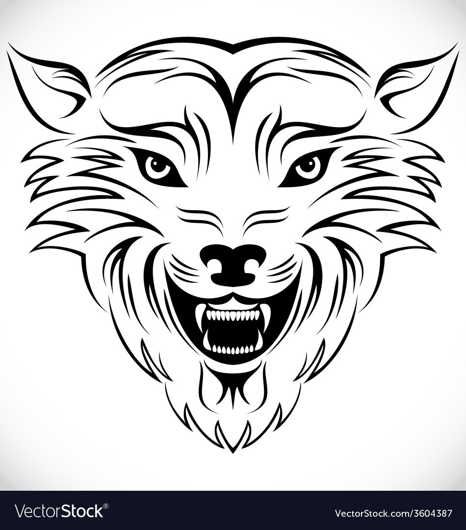 Wolf head tribal vector | Price: 1 Credit (USD $1)
