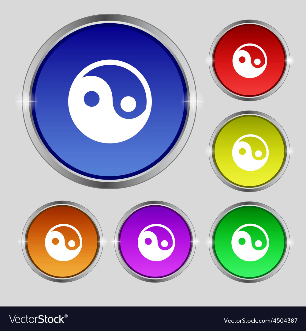 Ying yang icon sign round symbol on bright vector | Price: 1 Credit (USD $1)
