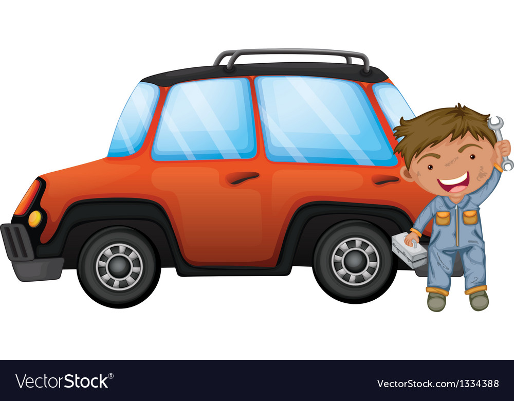 A man fixing the orange car vector | Price: 1 Credit (USD $1)