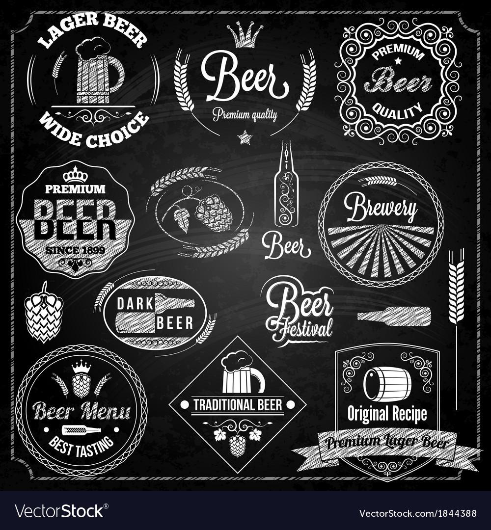 Beer set elements chalkboard vector | Price: 1 Credit (USD $1)
