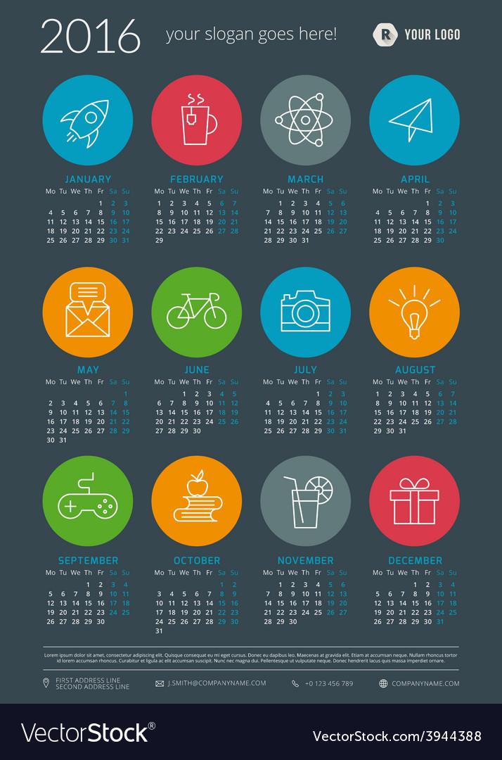 Calendar 2016 decign template week starts monday vector | Price: 1 Credit (USD $1)