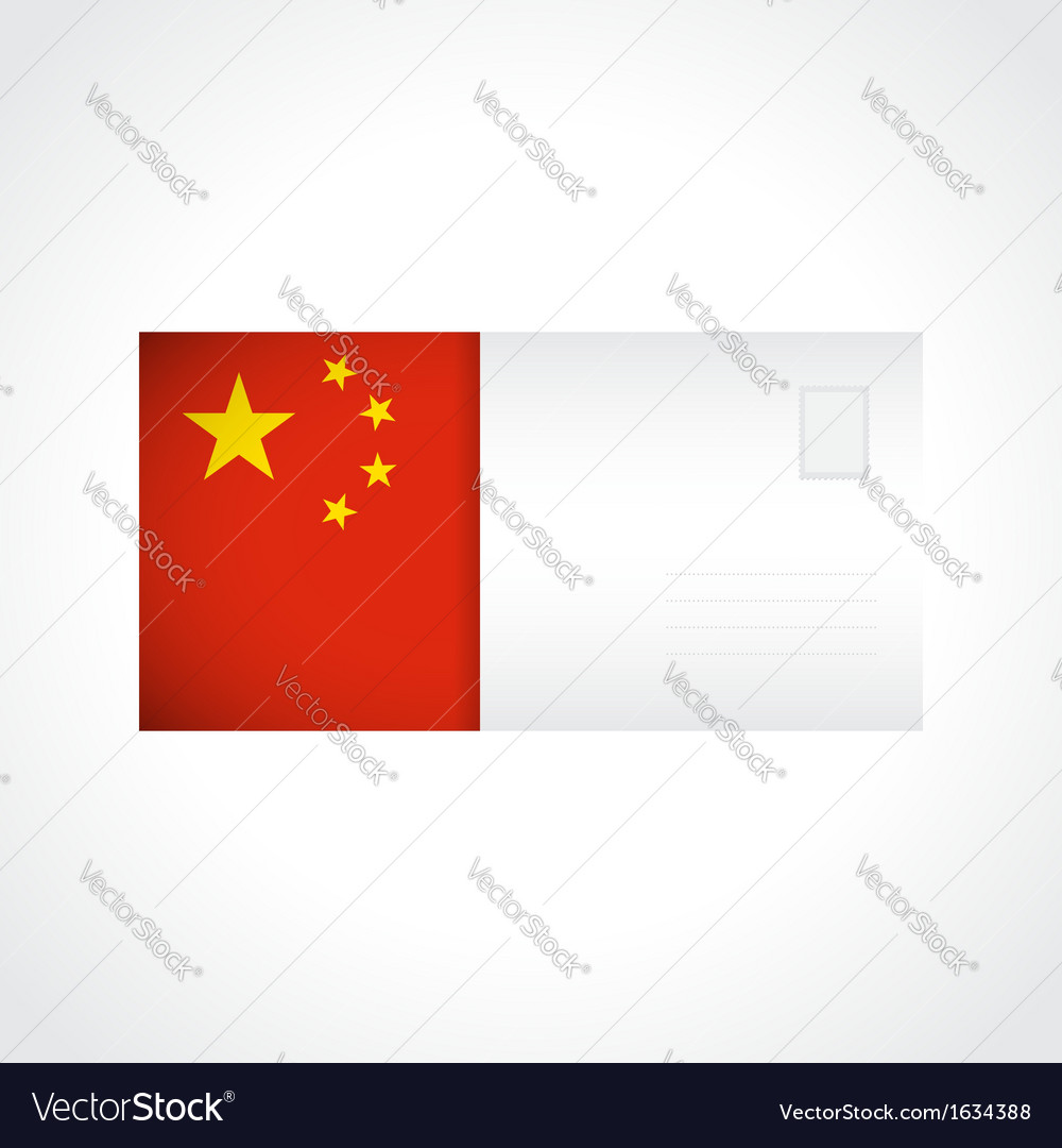 Envelope with chinese flag card vector | Price: 1 Credit (USD $1)