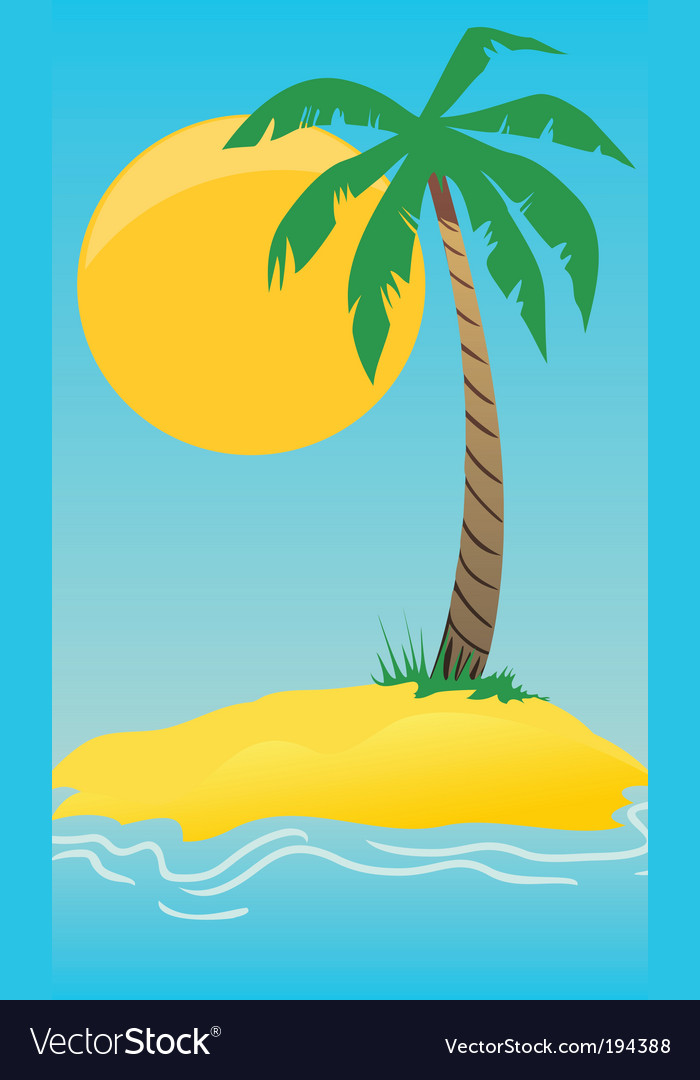 Island with a palm tree vector | Price: 1 Credit (USD $1)