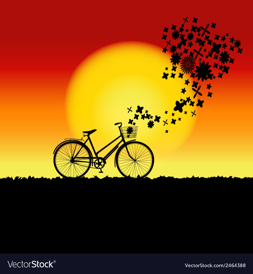 Natural sunset landscape with bicycle silhouette vector | Price: 1 Credit (USD $1)