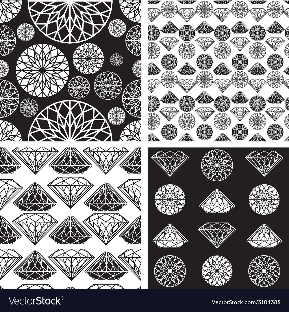 Seamless diamonds set 1 vector | Price: 1 Credit (USD $1)