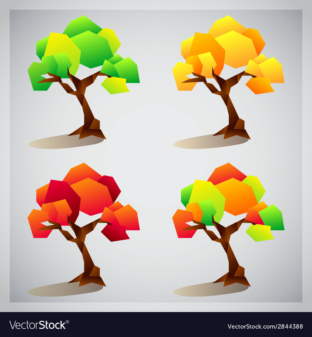 Set of four colorful geometric trees icons vector | Price: 1 Credit (USD $1)