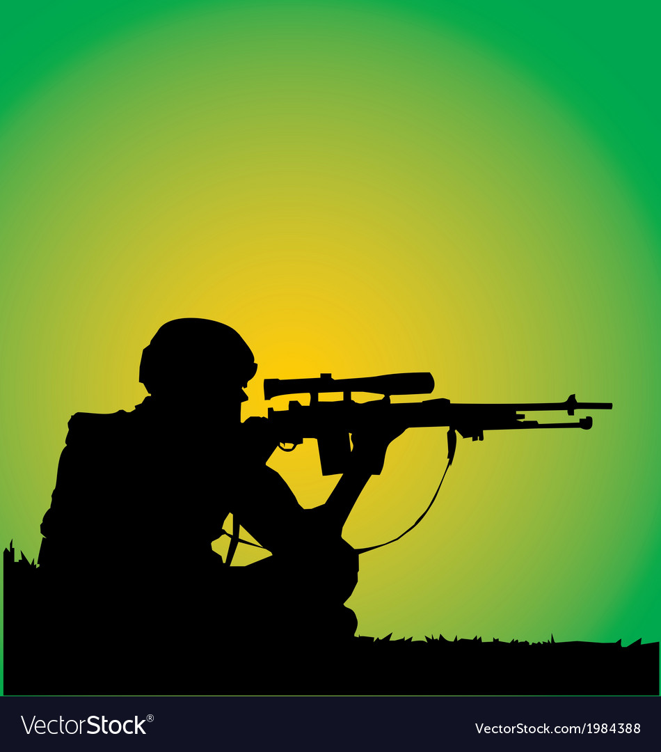 Sniper silhouette vector | Price: 1 Credit (USD $1)