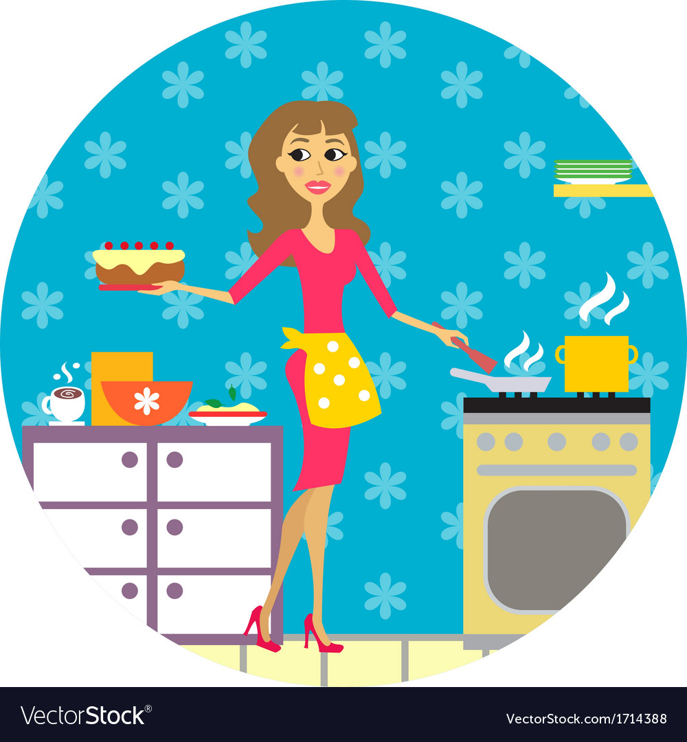 Woman cooks in kitchen vector | Price: 1 Credit (USD $1)