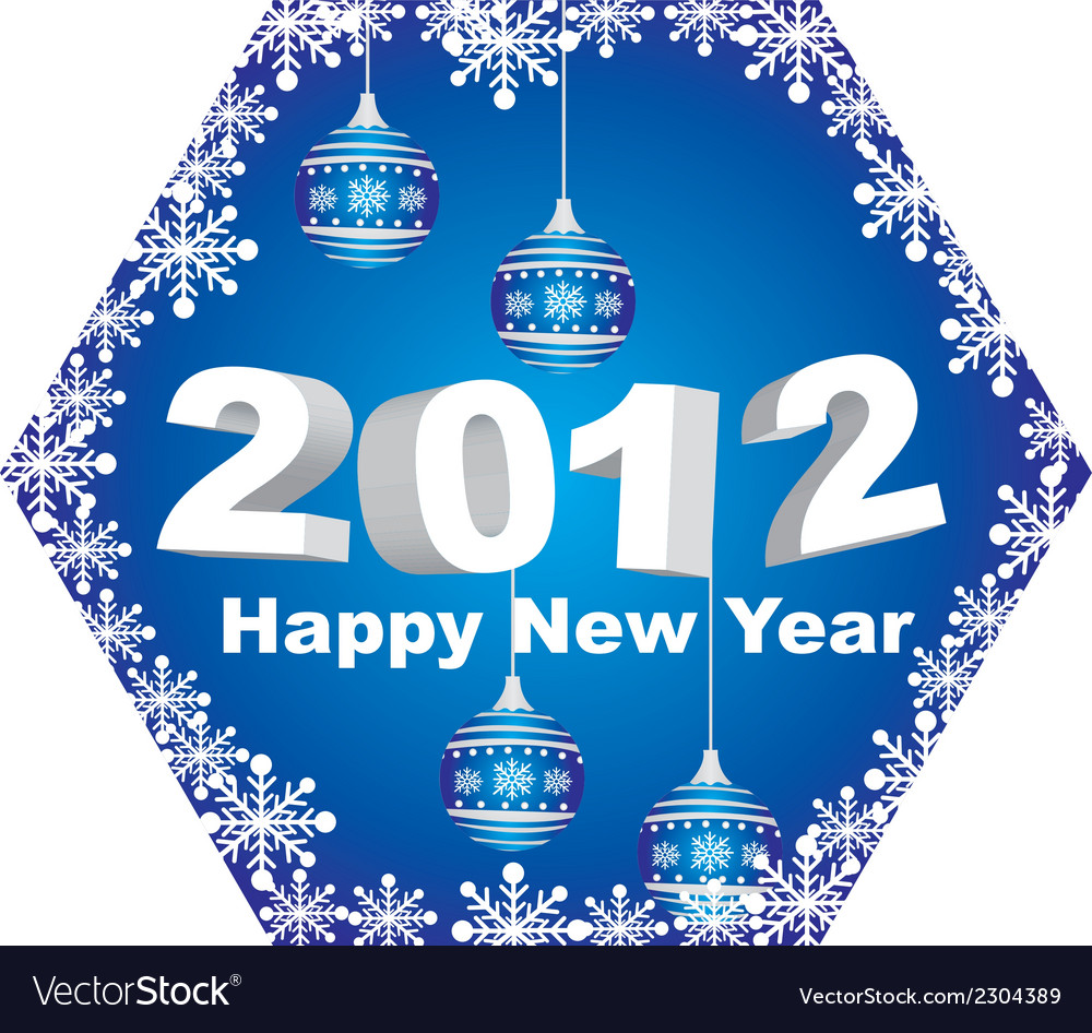2012 happy new year with christmas balls isolated vector | Price: 1 Credit (USD $1)