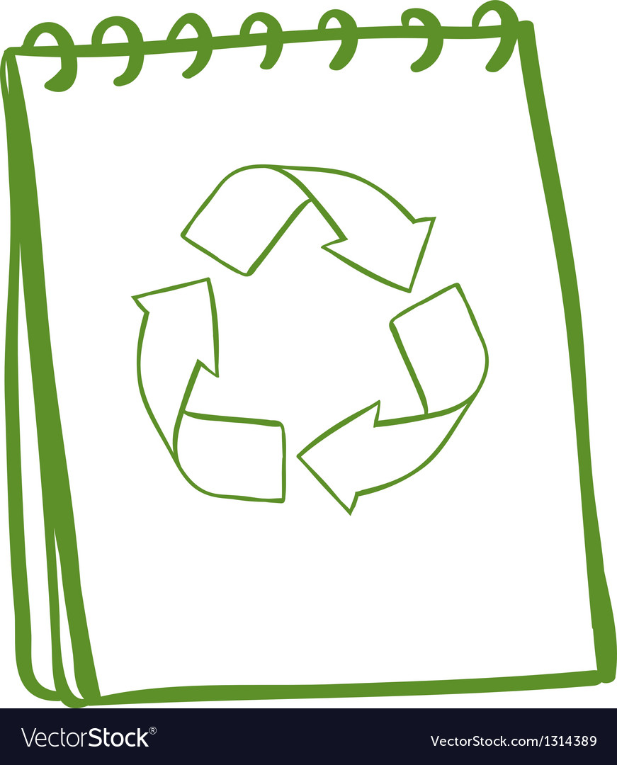 A green notebook with the symbols for recycling vector | Price: 1 Credit (USD $1)