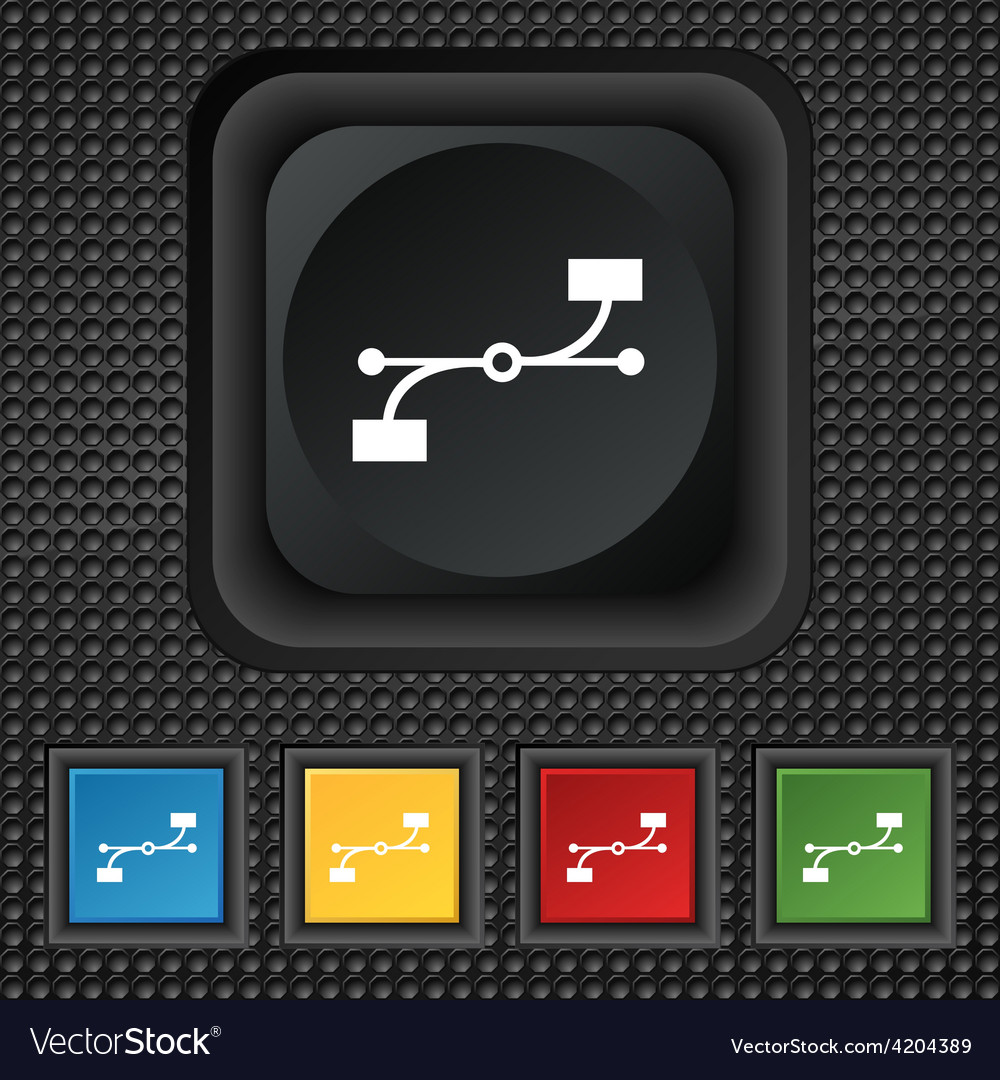 Bezier curve icon sign symbol squared colourful vector | Price: 1 Credit (USD $1)