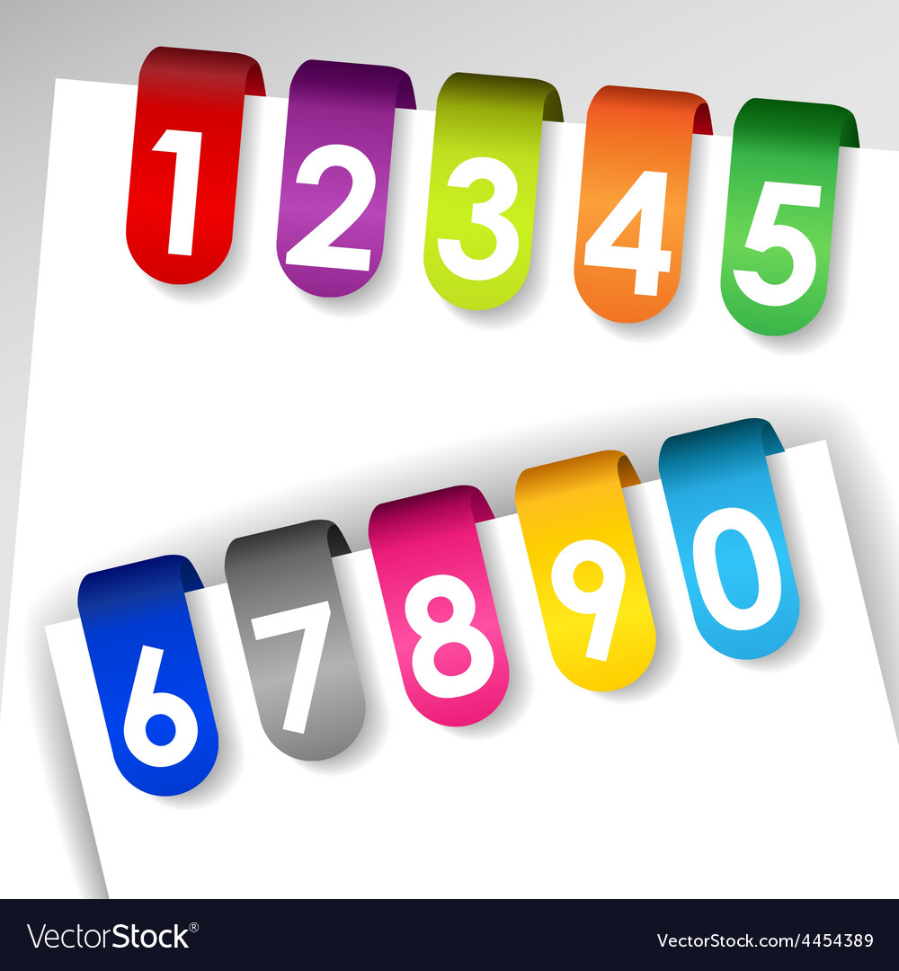 Colorful numbered paper tags vector | Price: 1 Credit (USD $1)