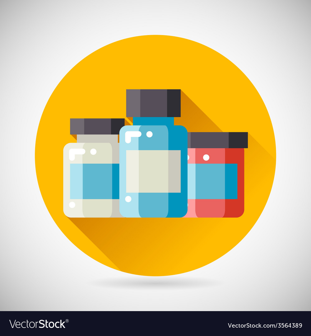 Drug cure medicine box vial bottle jar icon heal vector | Price: 1 Credit (USD $1)